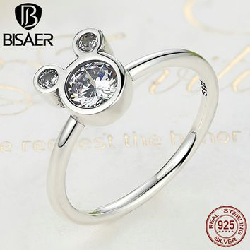 100% 925 Sterling Silver Dazzling Miky Mouse Rings for Women Wedding Engagement Fashion Jewelry HSR032