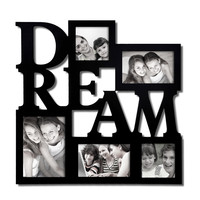 "Adeco Decorative Black Wood ""Dream"" Wall Hanging Picture Photo Frame, 5 Openings, Various Sizes"