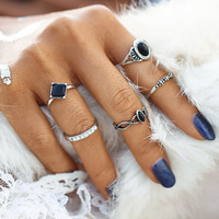 2017 New Fashion Tibetan Black Stone Lucky Artificial Stone Crystal Midi Rings Midi Ring for Women Punk Rings Set Gift   JM0510