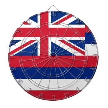 Dartboard with Flag of Hawaii, USA