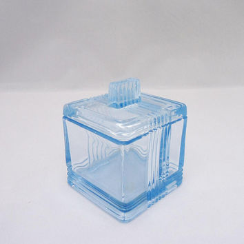 Vintage Square Trinket Box, Blue Glass Square Trinket Box, Blue Glass Jewellery Box