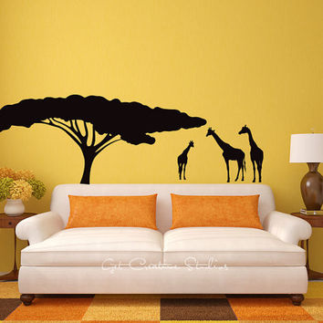 Wall Decals - Africa, Tree, Giraffes, Animals, Safari, Sunset, Serengeti, Conservation, Nature, Zoo, Wild, Tall, Silhouette, Wall Stickers