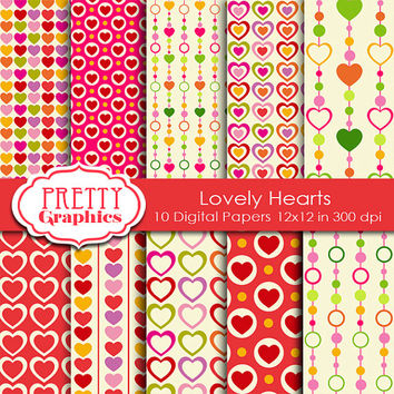 DIGITAL PAPERS - Lovely Hearts - Commercial Use- Instant Downloads - 12x12 JPG Files - Scrapbook Papers - High Quality 300 dpi