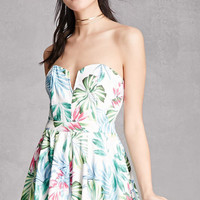 Tropical Floral Strapless Dress