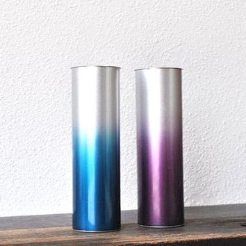 Mid Century Tall Metal Vase Set, Two Atomic Silver Anodized Aluminum Blue & Purple Cylinders