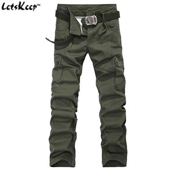 2017 Letskeep army Cargo Pants men casual baggy tactical pants mens cotton army trousers with drawstring 29-38 big size , MA257