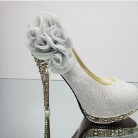 New Sexy wedding shoes for Women pumps Platform Pumps High heels sapatos femininos Big flower shoes Many styles Zapatos mujer