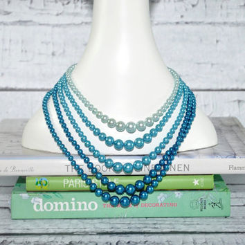 Lovely Vintage Bead Necklace - Shades of Blue - Multi-Strand - Mid-Century