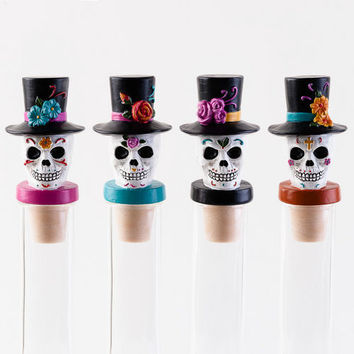 Sugar Skull Bottle Stoppers by One Hundred 80 Degrees