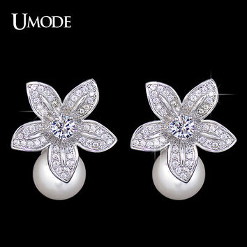 UMODE 2016 High Quality Simulated Pearl With Tiny AAA CZ Cubic Zirconia Flower Earrings Christmas Gift Jewelry UE0134