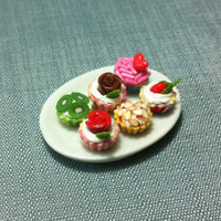 Dessert Set Miniature Clay Polymer 6 Fruits Cupcakes Cake Bakery Pastry Food Supply Tiny Small Ceramic Dish Plate Display Dollhouse Supplies