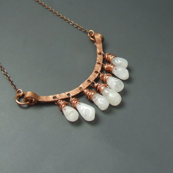 Hammered jewelry, Moonstone necklace, Copper necklace, Fertility stone necklace, rustic rainbow moonstone jewelry