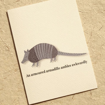 Animal card, hand-illustrated armadillo greeting card, you won't find this cute armadillo design anywhere else, wonderful notecard