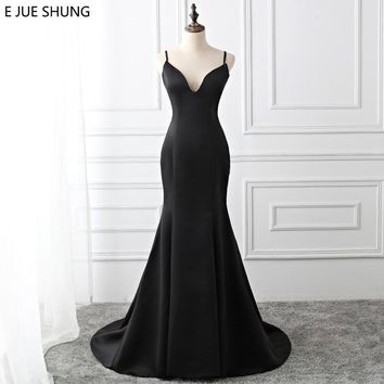 E JUE SHUNG Black Simple Mermaid Evening Dresses Long 2018 Backless Button Evening Gowns Formal Dresses robe longue Real Dress