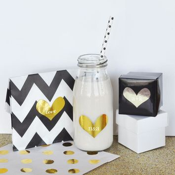 Personalized Gold & Silver Foil Heart Stickers