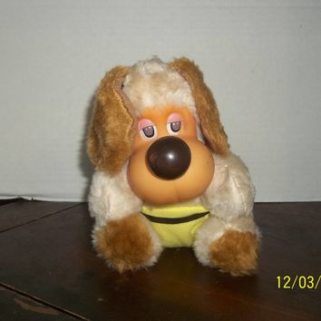 "vintage rubber face faced lido puppy dog plush 7"" tall"