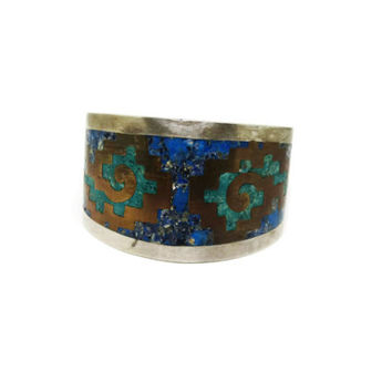 Vintage Taxco 1950s Sterling Silver and Malachite Inlaid Cuff Bracelet / Taxco POM Sterling Silver Crushed Malachite and Copper Signed Cuff