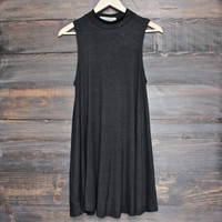 final sale - BSIC - solid high neck womens tank mini dress - black