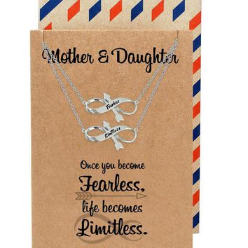Erika Mother and Daughter Fearless Necklace, Gifts for Daughter, Gifts for Mother with Inspirational Quote