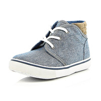 River Island Boys blue denim mid top boots