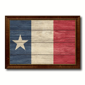 Texas Dodsons Historical Military Flag Texture Canvas Print with Brown Picture Frame Home Decor Wall Art Gifts