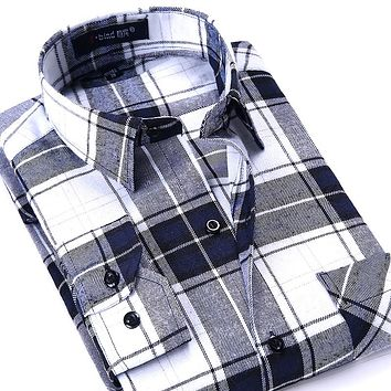 New Arrival Men's Casual Slim Shirts Flannel Plaid Shirt High Quality Men's Boutique Clothes