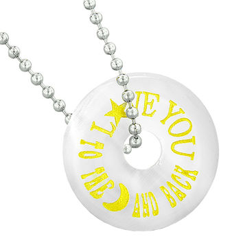 Inspirational Love You to the Moon and Back Amulet Lucky Donut White Simulated Cats Eye 18 Inch Necklace