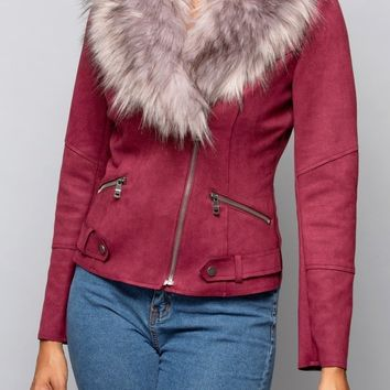 Faux Suede Zip Jacket in Wine