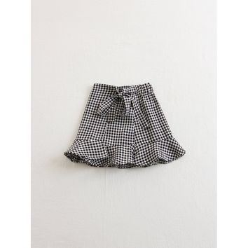 Tie Waist Ruffle Trim Gingham Skirt