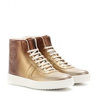 gucci - metallic-leather high-tops