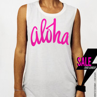 Aloha - White with Pink Muscle Tee Tank T-shirt