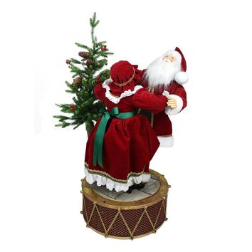 "32"" Musical and LED Lighted Rotating Santa and Mrs Claus Christmas Decor"