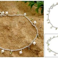 Pearl and Peridot Indian Jewelry Anklet - Forest Dew | NOVICA