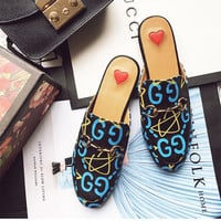 All-match Retro Print Round Head Sandals Shoes Flats Shoes Genuine Leather Women Shoes