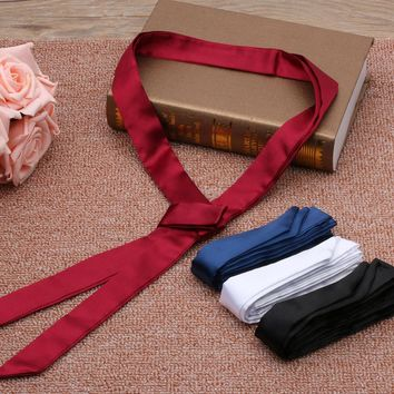 Girl Real Silk Long Skinny Stain Solid Tie Scarf Ladies Vintage Chiffon Charm High Quality Free Shipping Fashion Nice Hot