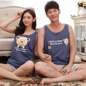 New Summer Pijamas Sleeveless Pajamas Cartoon Couple Pajamas Sets Bear Print Sleepwear For Women Blue Men Pyjamas Striped Pants