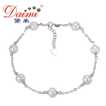 DAIMI High Quality Jewelry Pearl Anklets Genuine Pearls FOOT CHAIN 7-8 mm Pearl Jewelry For Women.