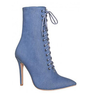 Denim Pointed Toe Ankle Boots for Women