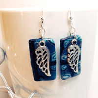 Angel wing dangling earrings stocking stuffer for women or girls