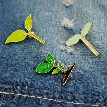Trendy 1 pcs cartoon bean sprout metal badge brooch button pins denim jacket pin jewelry decoration badge for clothes lapel pins AT_94_13