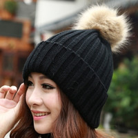 Women's Knit Cap Beanie Hat With Fur Winter Slouch Elastic = 1931488836