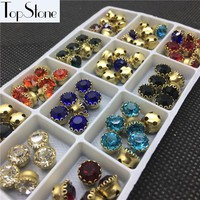 144pcs 6mm 8mm New High Quality Round Glass Chatons With Lace Claw Setting Multi Colors Sew On Jewelry Crystal Beads