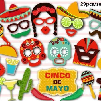 Mexican Theme Photo Booth Props Party Kit 29 pcs