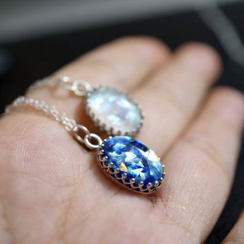 Blue Opal Necklace - Full Sterling Silver Galaxy Necklace - Starry Night Jewelry ,  Van Gogh Starry Sky Necklace - Fire Opal Pendant -