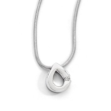 Diamond Accent Teardrop Necklace in Rhodium Plated Silver, 18-20 Inch