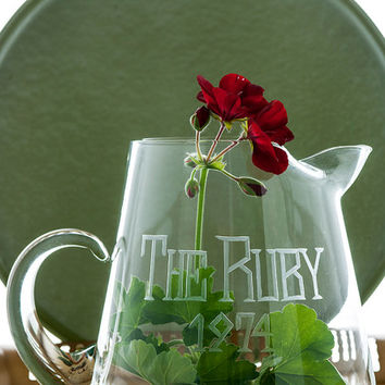 "Vintage Barware, Glass Pitcher, Etched Glass Pitcher, ""The Ruby 1974,"" Bar Decor, Hand Blown Glass Pitcher"