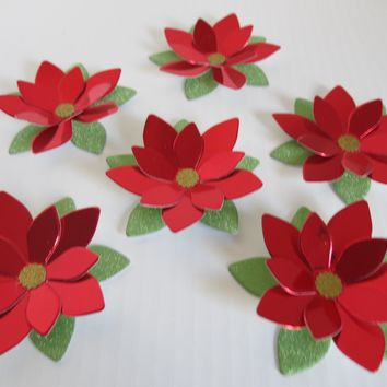 "Set of 6 Red Metallic Foil Poinsettia Flowers, Loose 3.5"" Christmas Floral Decorations, Dinner Table Decor"