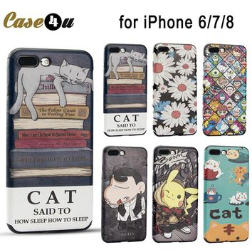 Cute Funny Sleep Cat Pokemons Go Pikachue Case Cover for iPhone 7 8 6 6s Plus coque Soft Leather Case Doraemon Crayon Shin Chan