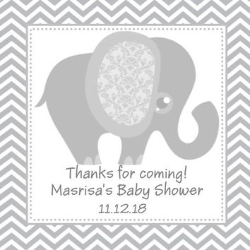 Grey Elephant Baby Shower Favor Tags