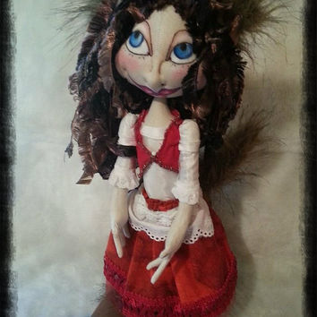 "Cloth Art Doll Soft Sculptured OOAK   Lil Red  13"" Little Red Riding Hood W/Secret"